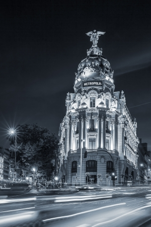 Gran via street, main shopping street in Madrid at night. Spain, Europe.