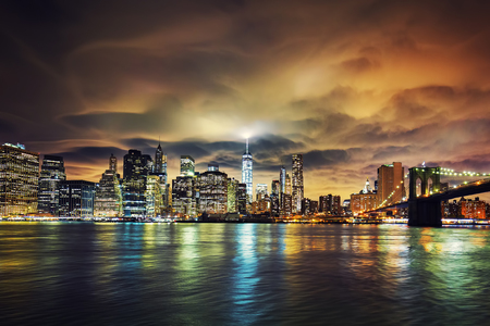 View of Manhattan at sunset, New York City.