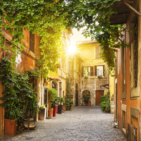 Photo for View of Old street in Trastevere in Rome, Italy - Royalty Free Image