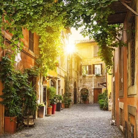 View of Old street in Trastevere in Rome, Italy