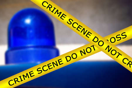 Photo for Blurred blue flashing light on the roof of a special purpose vehicle. Crime scene do not cross. Accident cordon tape - Royalty Free Image
