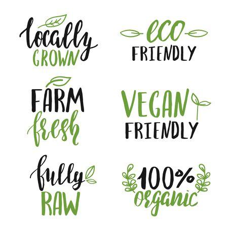Illustration pour Set of hand lettered food signs - image libre de droit