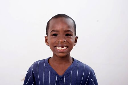 Photo for portrait of happy little african boy isolated on white background - Royalty Free Image