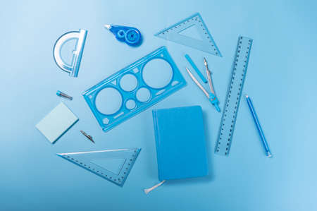 Photo pour Stationery of the same color. All items are blue. - image libre de droit