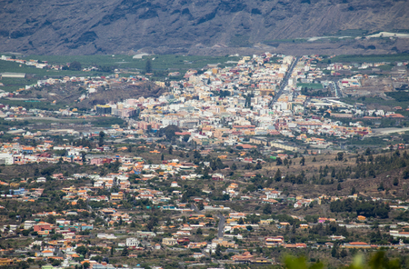 Panoramic view on the city Los Llanos in the valley. Banana plantations and mountains in the background.