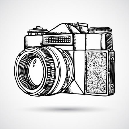 Ilustración de Vintage doodle camera, hand-drawn - Imagen libre de derechos