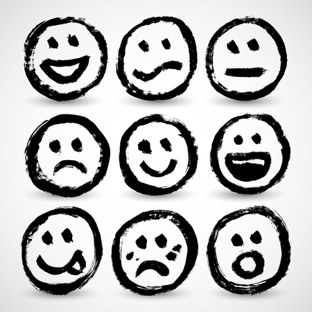 An icon set of grunge cartoon smiley faces