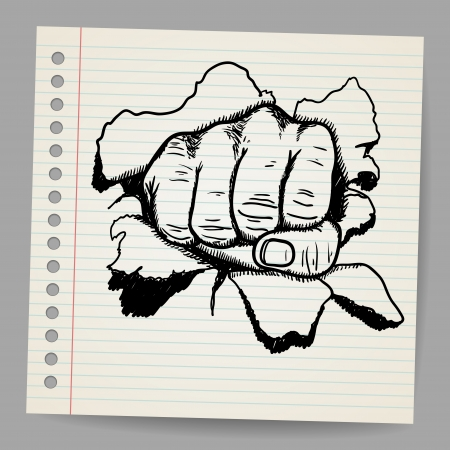 Scribble style illustration of a strong fist symbol