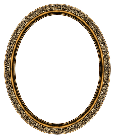 Photo for Wooden oval frame isolated on white background - Royalty Free Image