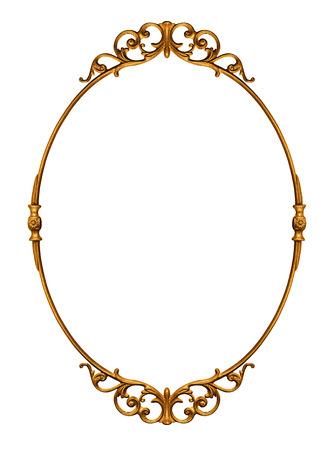Photo for Elegantly golden antique frame isolated on white - Royalty Free Image