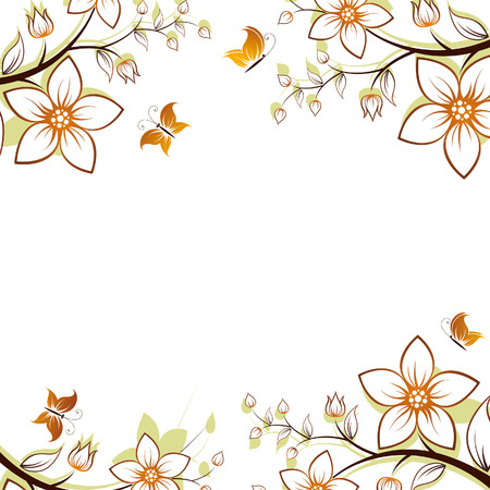 Vector flower background with butterfly isolated on white