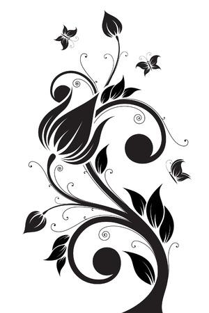 Foto de Abstract isolated Flower tree with Butterfly. Vector illustration - Imagen libre de derechos