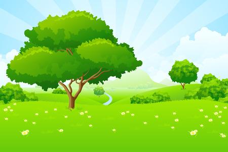 Illustration pour Tree Landscape with blue sky mountains flowers and clouds - image libre de droit