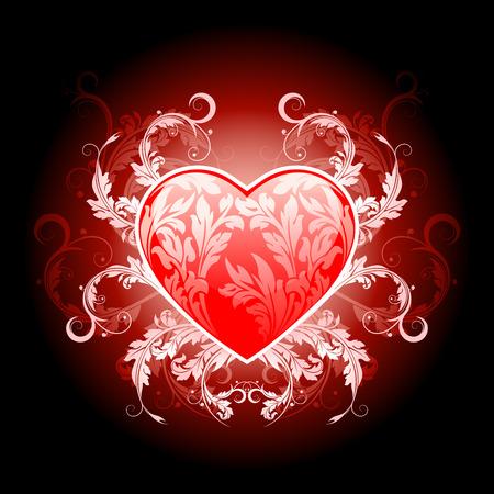 Foto de Vector Illustration Red Valentines Heart with Floral Pattern - Imagen libre de derechos