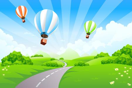 Illustration pour Green Landscape with Balloons clouds and mountains - image libre de droit