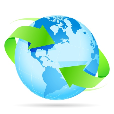 Photo for Icon Blue Planet Earth and Green Arrow - Royalty Free Image