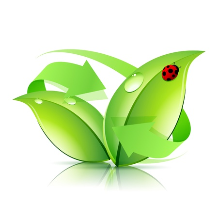 Ilustración de Logo Nature Recycle with Arrow and Ladybird - Imagen libre de derechos