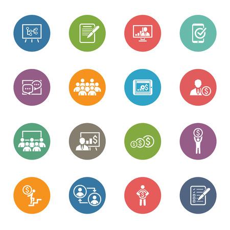 Ilustración de Business Coaching Icon Set. Online Learning. Flat Design. Isolated Illustration. - Imagen libre de derechos