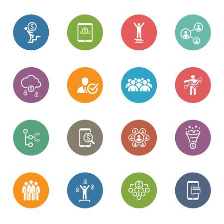 Foto de Flat Design Icons Set. Icons for business, management, finance, strategy, planning, analytics, banking, communication, social network, affiliate marketing. - Imagen libre de derechos