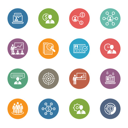 Illustration pour Business and Finances Icons Set. Flat Design. Isolated Illustration. - image libre de droit