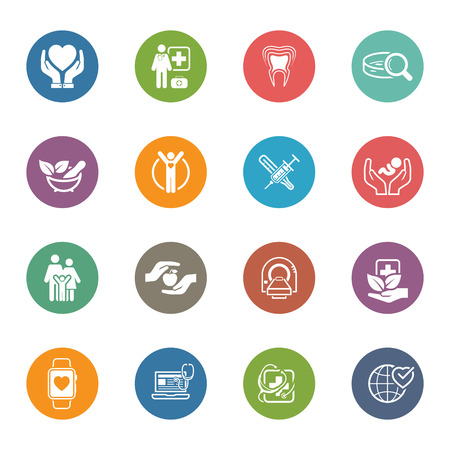 Foto de Medical and Health Care Icons Set. Flat Design. Isolated Illustration. - Imagen libre de derechos