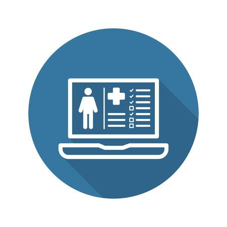 Illustration pour Patient Medical Record Icon with Laptop. Flat Design. Isolated. - image libre de droit