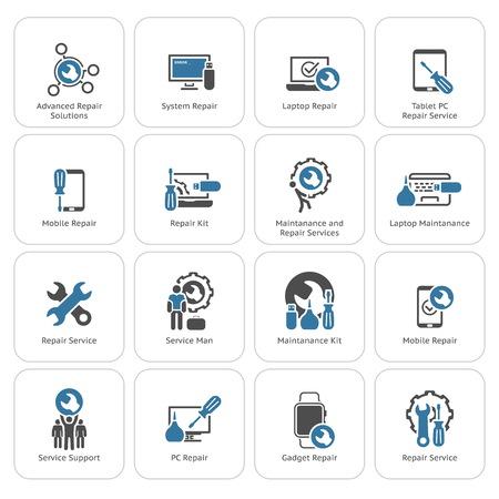 Illustration pour Repair Service and Maintenance Icons Set.  Isolated Illustration. - image libre de droit
