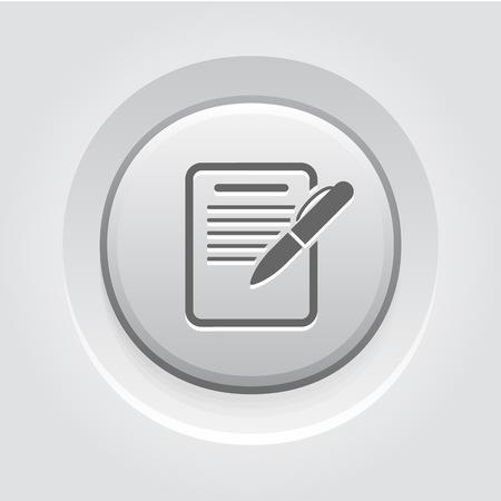 Summary Icon. Business Concept. Grey Button Design