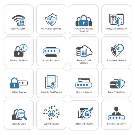 Flat Design Security and Protection Icons Set. Isolated Illustration. App Symbol or UI element.