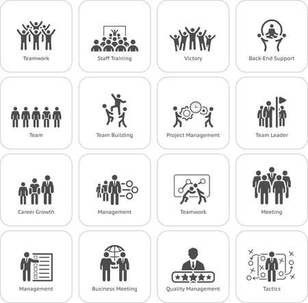 Ilustración de Flat Design Business Team Icons Set including Meeting, Training, Teamwork, Team Building, Management, Career, Tactics. Isolated Illustration. App Symbol or UI element. - Imagen libre de derechos