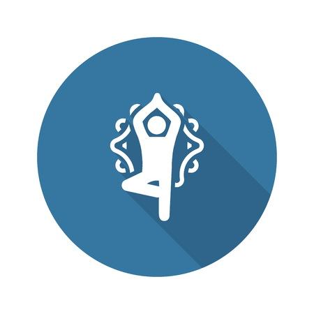 Illustration pour Yoga Fitness Tree Pose Icon. Flat Design Isolated Illustration. - image libre de droit