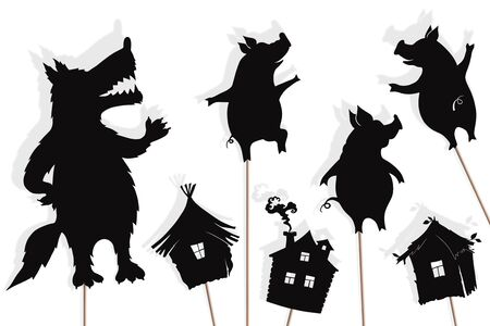 Photo pour Shadow puppets of three little pigs and Big Bad Wolf - image libre de droit