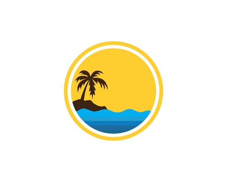 Illustration pour water wave with palm tree illustration vector template - image libre de droit