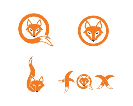 Illustration for fox logo icon vector template design - Royalty Free Image
