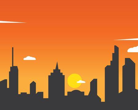 Illustration pour modern city skyline vector landscape illustration - image libre de droit