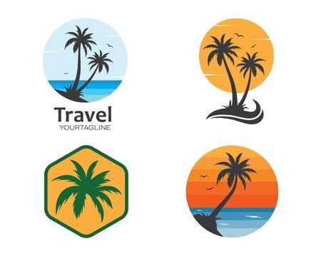 Illustration pour Palm tree icon of summer and travel logo vector illustration design - image libre de droit