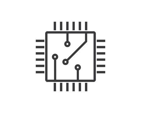 circuit board line,cpu,chip icon logo illustration vector design