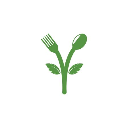 Illustration pour fork and spoon with leaves icon of vegetarian food vector design - image libre de droit