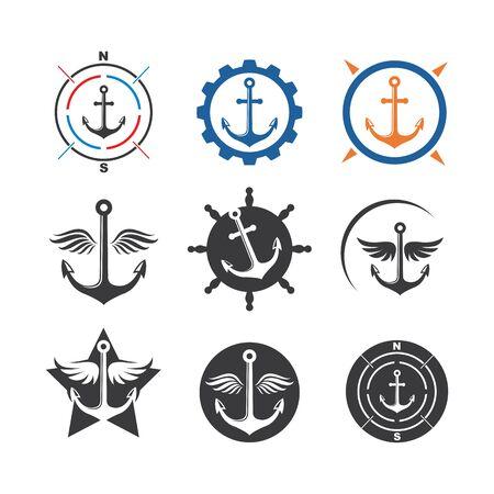 Illustration for Anchor  icon Logo  vector  illustration design - Royalty Free Image