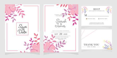 Illustration pour Set of card with flower rose, leaves. Floral poster, invite.  Wedding ornament concept. wedding invitation card template Vector illustration. - image libre de droit