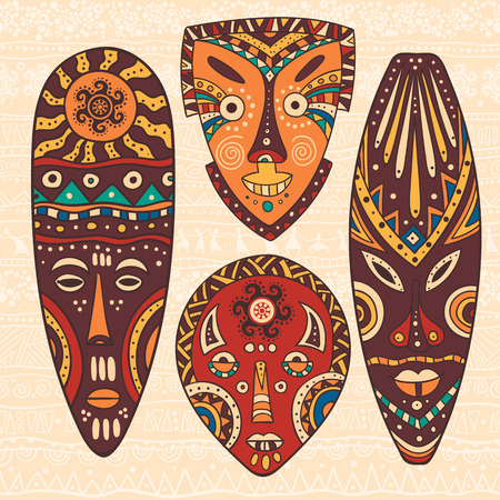Ilustración de The bright decorative illustration with African patterns. Can be used in fabric design for making of clothes, accessories, creating decorative paper, wrapping, envelope, in web design - Imagen libre de derechos