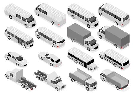 Illustration pour Flat 3d isometric city transport and commercial vehicle icon set. Sedan, bus and school bus, truck, ambulance - image libre de droit