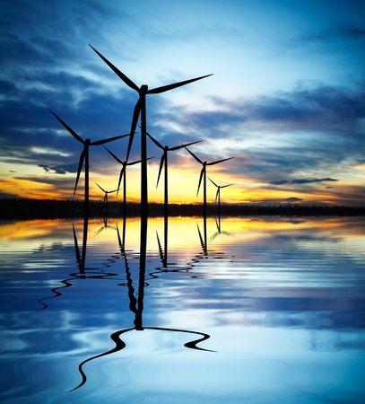 Photo for Wind Power at Sunset - Royalty Free Image