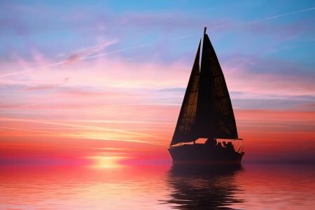 Photo pour Sailing at sunset on the ocean - image libre de droit