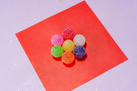 Close up of Japanese candys. (Japanese candy 'Bekkoame')