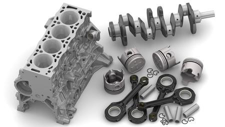 Foto de Details of the internal combustion engine lying on a white surface - Imagen libre de derechos