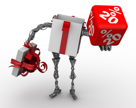 Foto de Open gift box in the form of cyborg (with legs and arms) standing on the white surface and holds red cube labeled with 20 percentages. Isolated. 3D Illustration - Imagen libre de derechos
