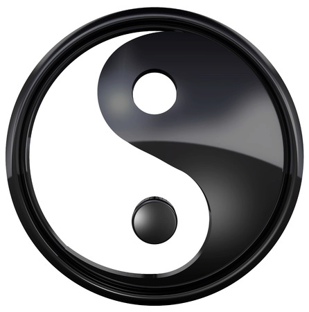 Photo for The Yin Yang symbol isolated on white background. The yin yang is a special symbol of balance and harmony. 3D Illustration - Royalty Free Image