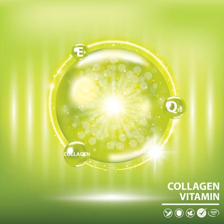 Illustration pour Green collagen vitamin droplet banner vector illustration. - image libre de droit