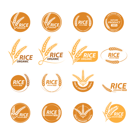 Ilustración de Collection of rice graphic design with image and text Illustration. - Imagen libre de derechos